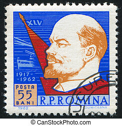 Lenin - ROMANIA - CIRCA 1962: stamp printed by Romania, show...