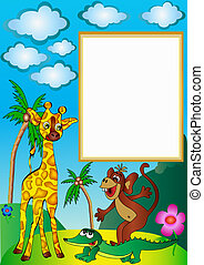 frame with palm by giraffe by ape and crocodile -...