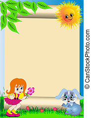 background child with flower and rabbit - illustration...