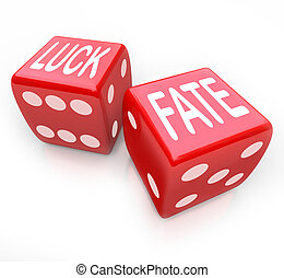 Luck and Fate - Two Red Dice Gambling Your Future - Two red...