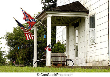 North & South Flags - Confederate and north (Yankee)...