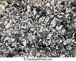 ashes background - The firewood burning for cooking, ashes...