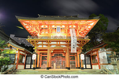 Ikuta shrine - Ikuta Shrine outer gate at night in Kobe,...
