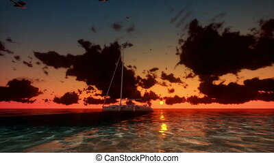 Yacht at Sunset, Time Lapse Clouds - Yacht at Sunset with...