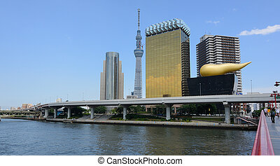 Tokyo Sky tree viewed from Azumabashi Riverside
