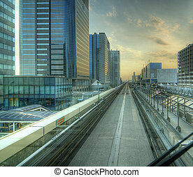 Tokyo Monorail in Odaiba - view from the monorail in Tokyo,...