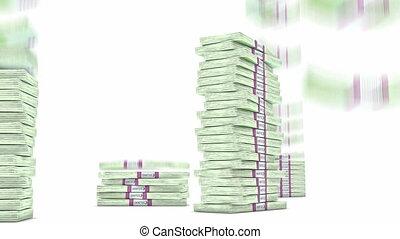 100 Euro bundles stacks falling