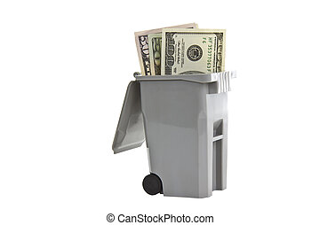 Wasted Investments - Trash bin with United States currency...