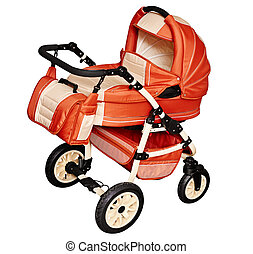 Pushchair for transporting children in winter isolated on...