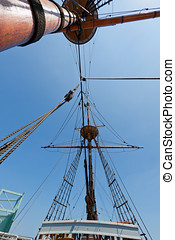 View of mast and rigging on the tall sail ship.