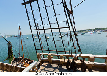 View of the rigging on the tall sail ship - View of the...