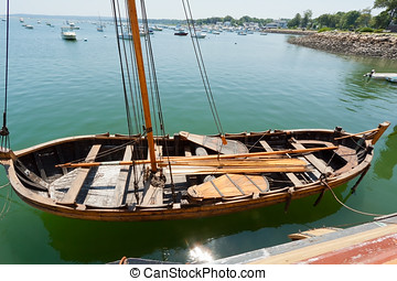 Ancient nautical sailing boat at the Historic Plymouth...
