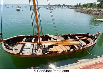 Ancient nautical sailing boat at the Historic Plymouth...