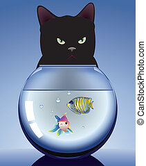 black cat and aquarium with fishes - vector black cat and...