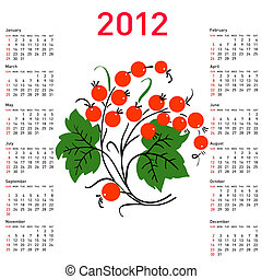Stylish calendar with flowers for 2012. Week starts on Sunday.