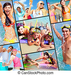 Happy vacation - Collection of pictures of happy friends on...