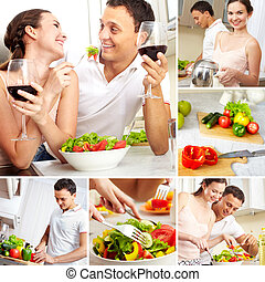 Couple in kitchen - Collage of happy couple in the kitchen...