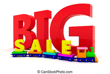 "Sale of toys - Toy train with letters ""BIG sale"""