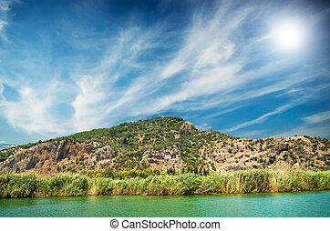 Cemetery in the mountains Dalyan Turkish - Unusually view of...