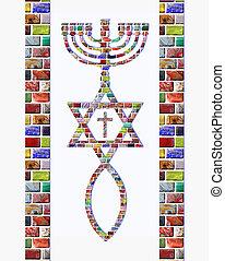 Menorah, Star of David fish, cross - Menorah, Star of David,...