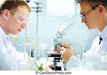 Researching - Portrait of two male chemists researching in...