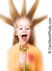 Screaming girl with a candy Special effect radial zoom blur...