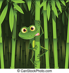 frog - illustration, curious frog on stem of the bamboo