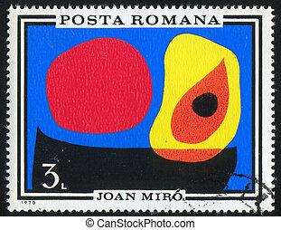 Joan Miro - ROMANIA - CIRCA 1970: stamp printed by Romania,...