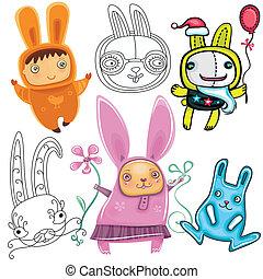 Cute Rabbits - Vector set of different cute Rabbits