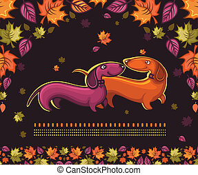 Dachshunds love - autumn banner