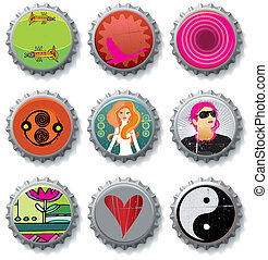bottle caps 4 - vector set.