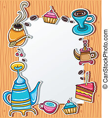Cute grunge frame with coffee, tea, cake, yerba mate...