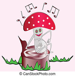 fly-agaric sings - mushroom cartoon sitting on a stump and...