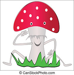 fly-agaric - mushroom cartoon sitting in the grass and...