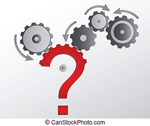 solve the puzzle - cogwheel and questionmark solve the...