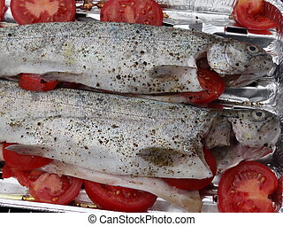 Rainbow trouts on grill