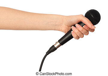 microphone for interview - reporter holding big black...