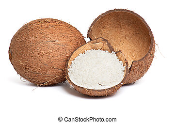 Whole and broken coconut on a white. - Half part of coconut...