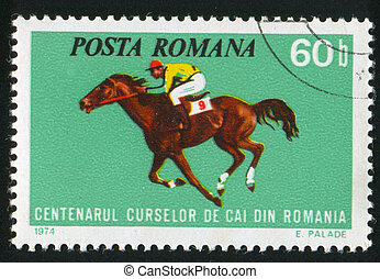 horse races - ROMANIA - CIRCA 1974: stamp printed by...