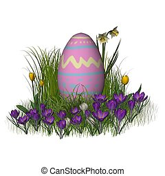 Easter Egg with Spring Flowers - Painted Easter Egg with...