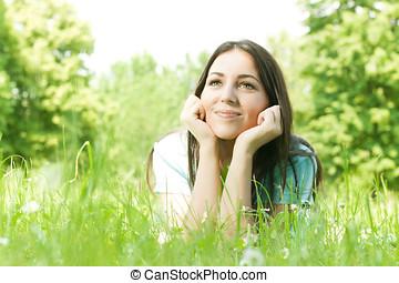Young beautiful girl enjoyment