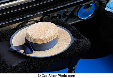 The hat of a gondolier - Image of a hat of a gondolier on a...