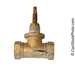 Old rusty valve isolated on white background