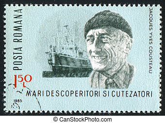 Jacques Cousteau - ROMANIA - CIRCA 1985: stamp printed by...