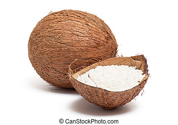 Part of coconut with powder inside shell . - Half part of...
