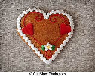 Gingerbread heart with copy space