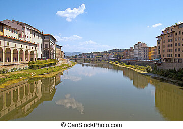 Arno - Beautiful view of Arno, the river cutting the city of...