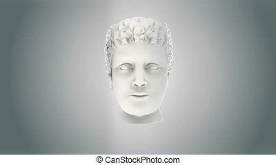 Human head exploding over black background 3d animation