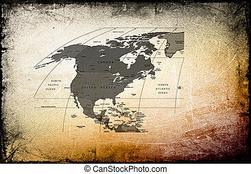 Antique map of  the  America,Canada,Mexico on ancient background