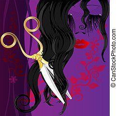 black hair and scissors - on a purple background with an...